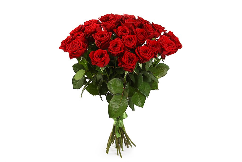 Букет 25 красных роз 60/70 см фото