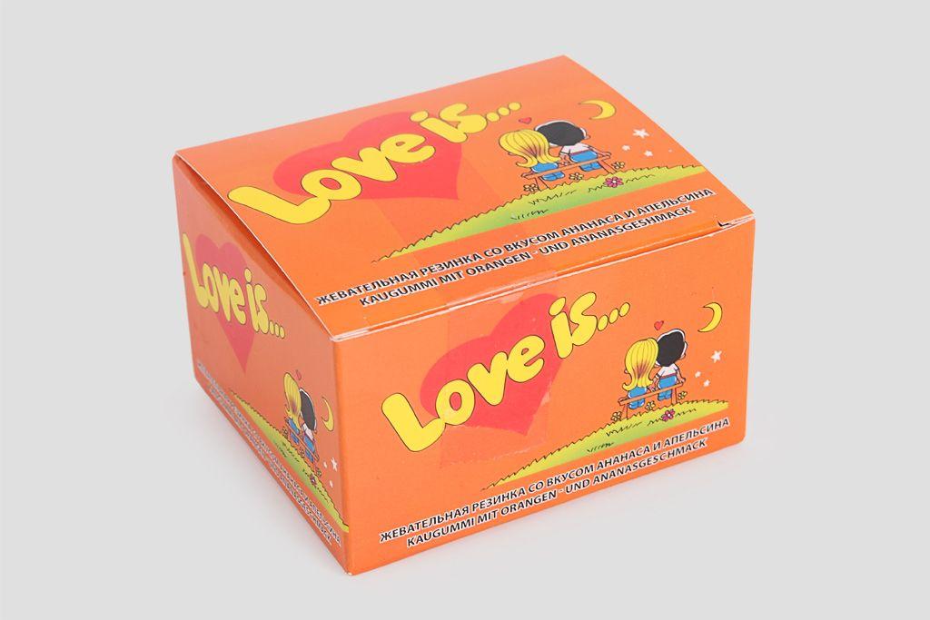 Блок жвачек Love is «Апельсин-Ананас», mini фото