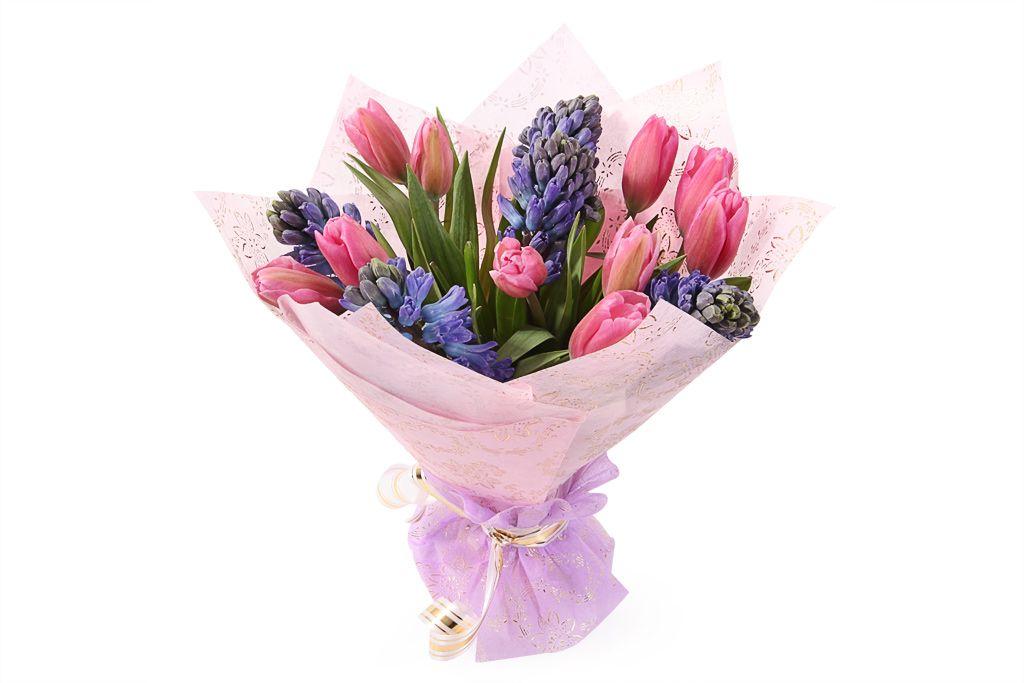 Букет с тюльпанами и гиацинтами Радость любви фото
