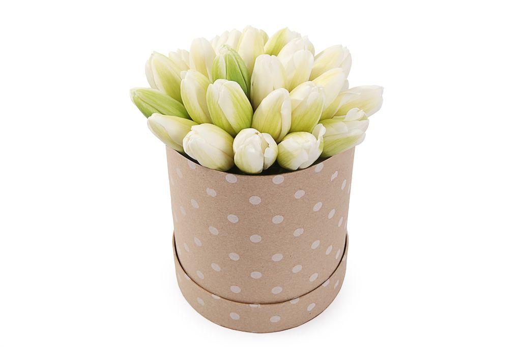 Букет 25 королевских тюльпанов в бежевой коробке, белые фото