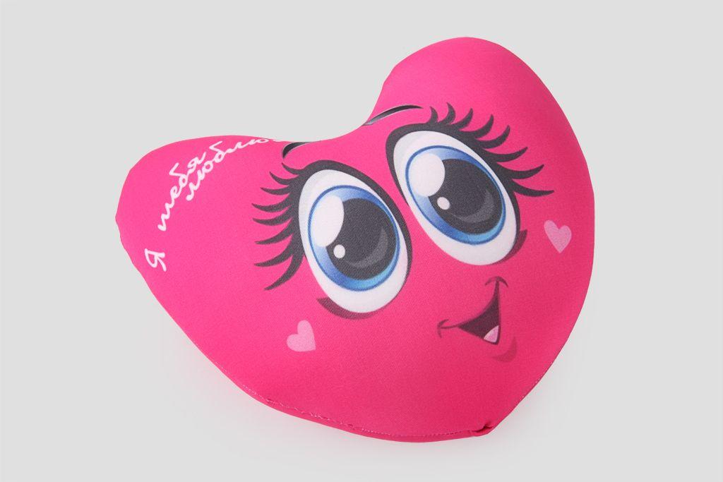 Подушка-сердце «Я тебя люблю» (с глазками) фото