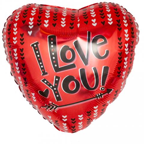 """Воздушный шар """"I love you"""", красный фото"""
