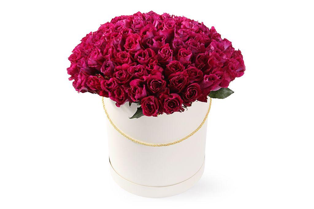 Букет 101 роза Мами Блю в шляпной коробке фото