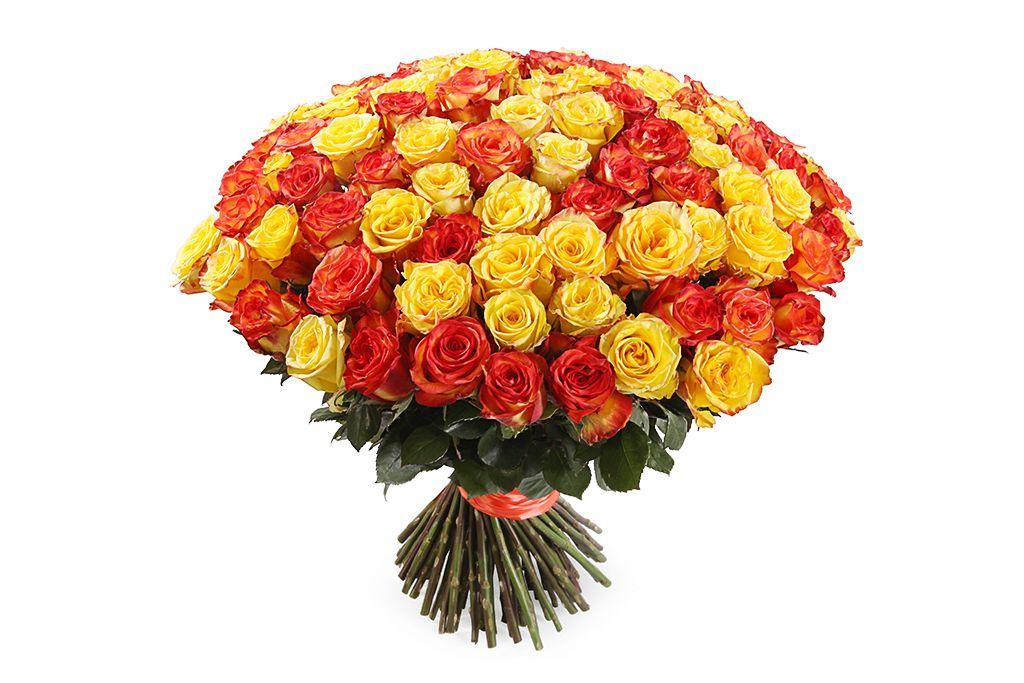 Букет 101 роза, Солнечный микс фото