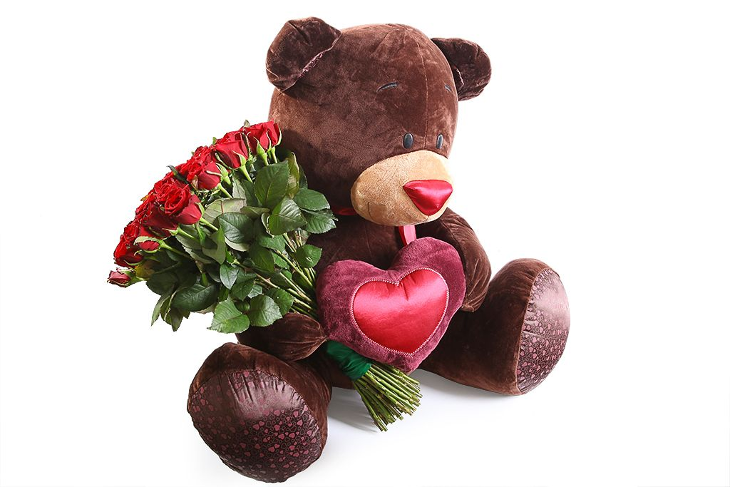 Букет Мишка с розами (красные) фото