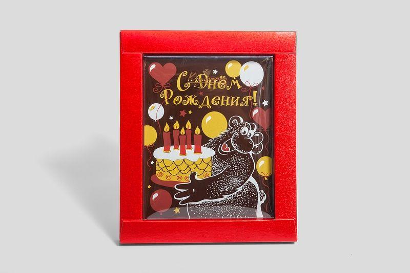 """Шоколадная открытка """"Мишка с тортом"""" фото"""