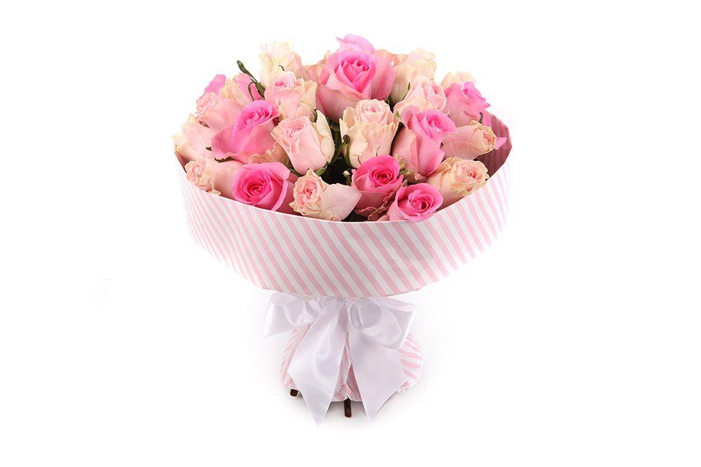 Букет 25 роз, розовый микс фото