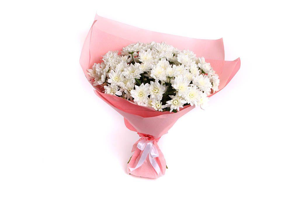 Букет 15 белых кустовых хризантем фото