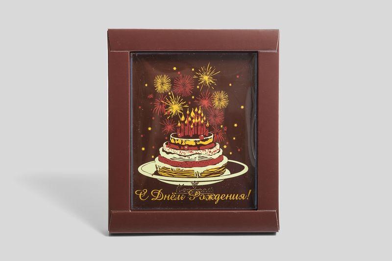 """Шоколадная открытка """"Торт со свечами"""" фото"""