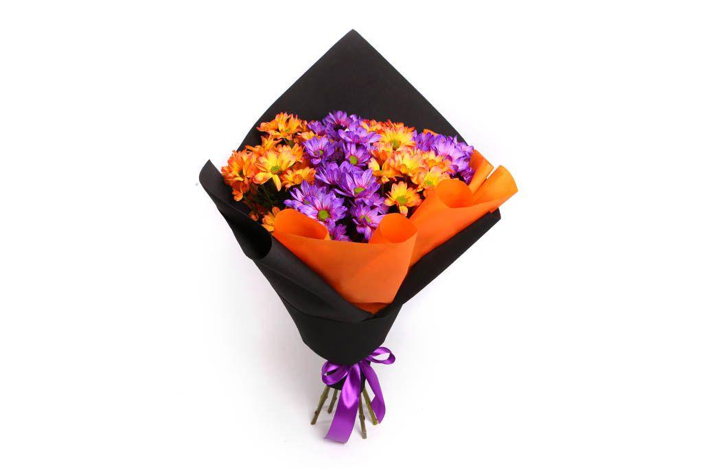 Букет 11 кустовых хризантем, рыже-фиолетовый микс фото