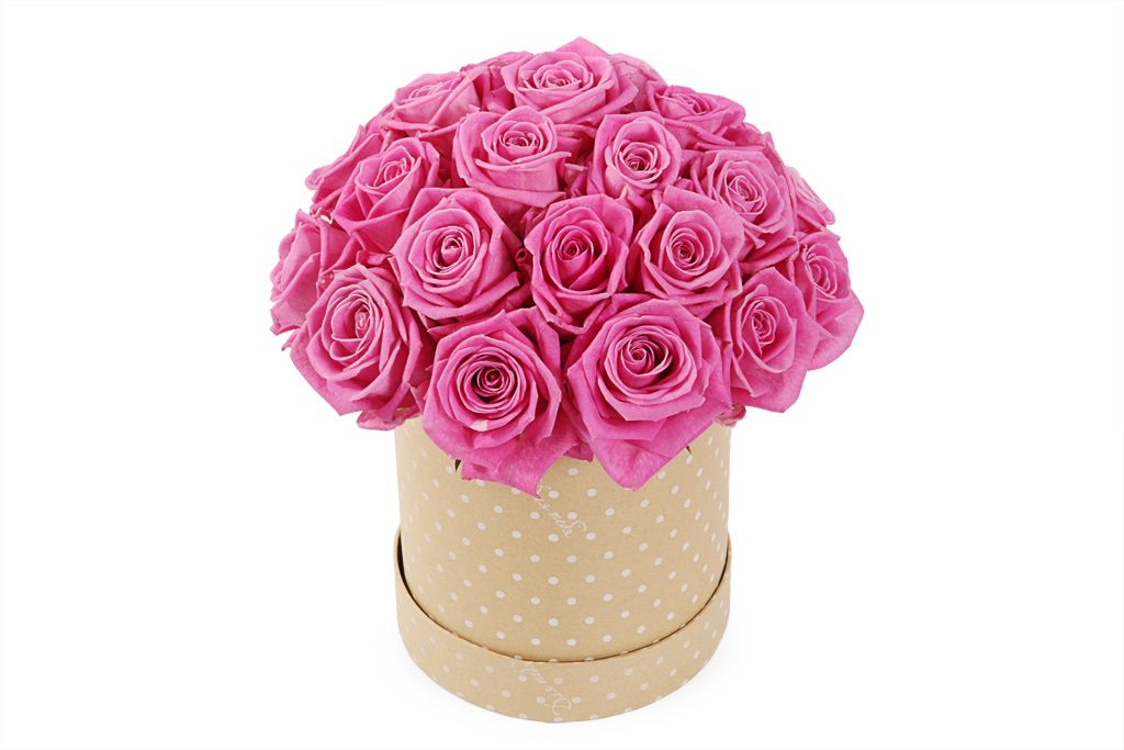 Букет 25 роз Аква в шляпной коробке фото