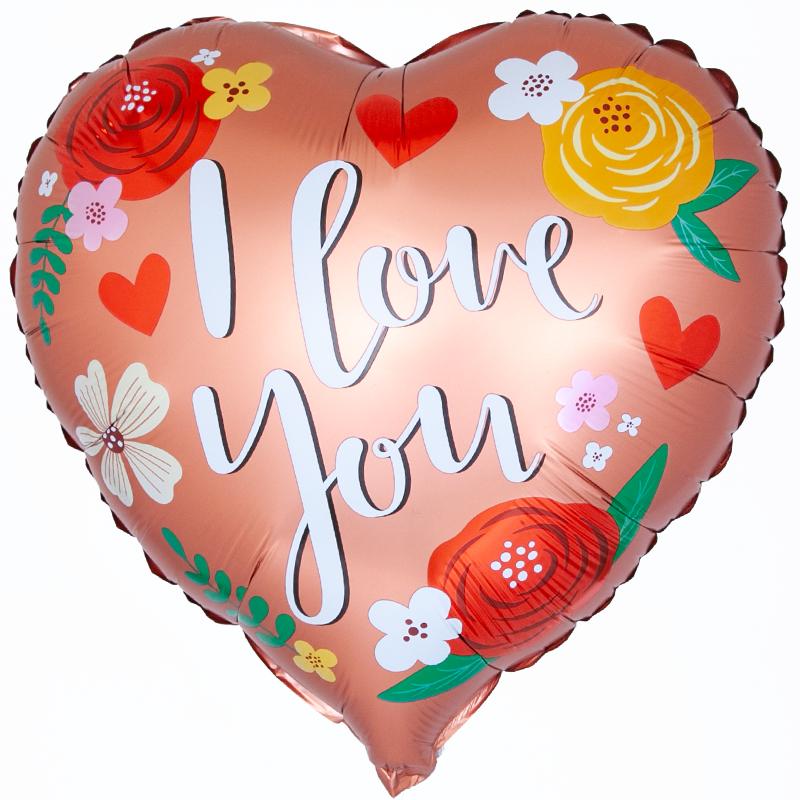 """Воздушный шар """"I love you"""", цветочный фото"""