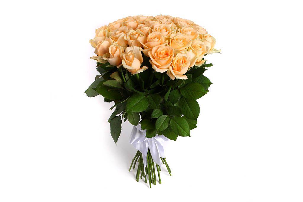 Букет 35 роз Пич Аваланш фото