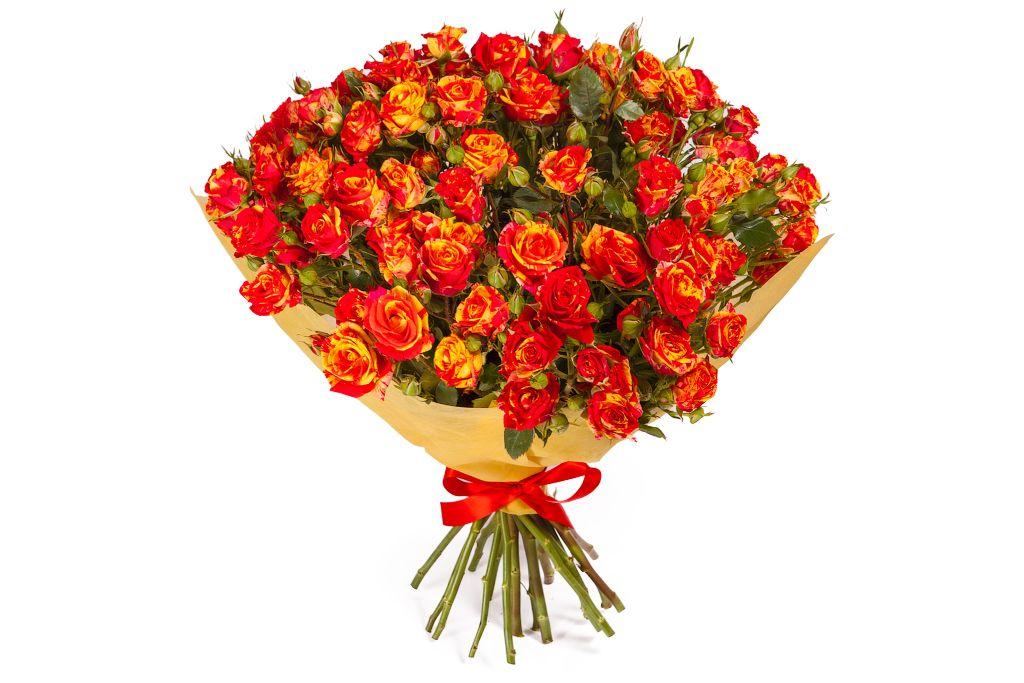 Букет 15 кустовых роз Фаер Флеш фото