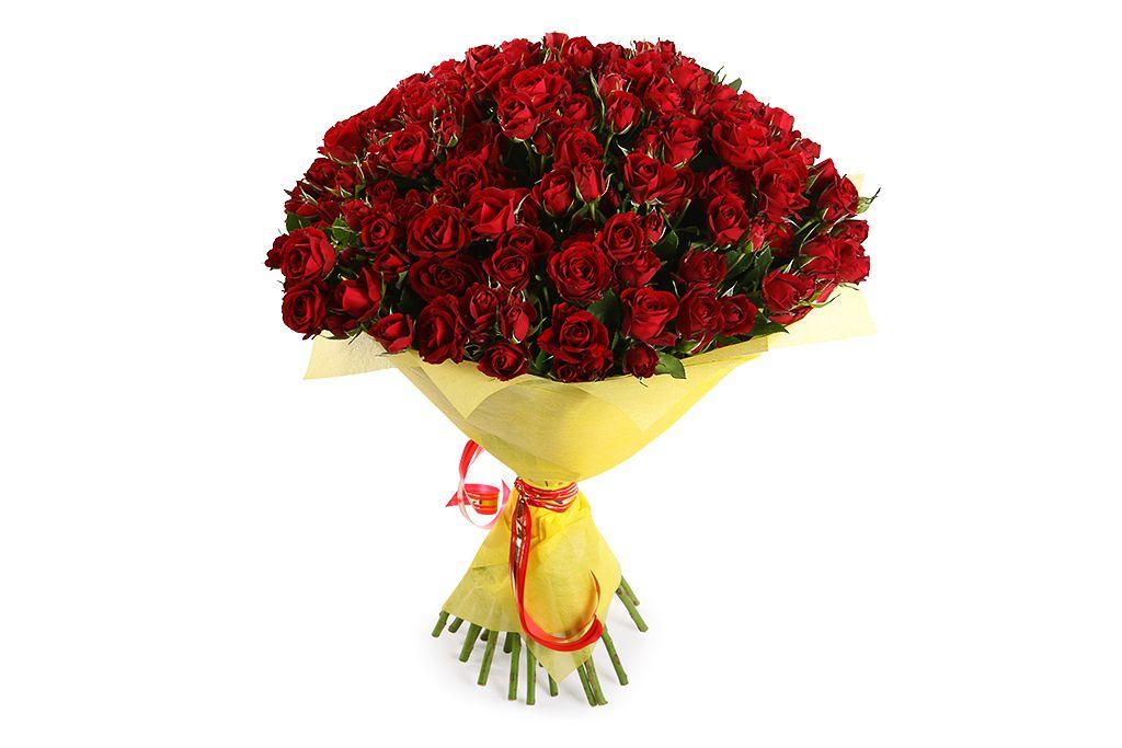 Букет 51 кустовая роза Мирабель фото