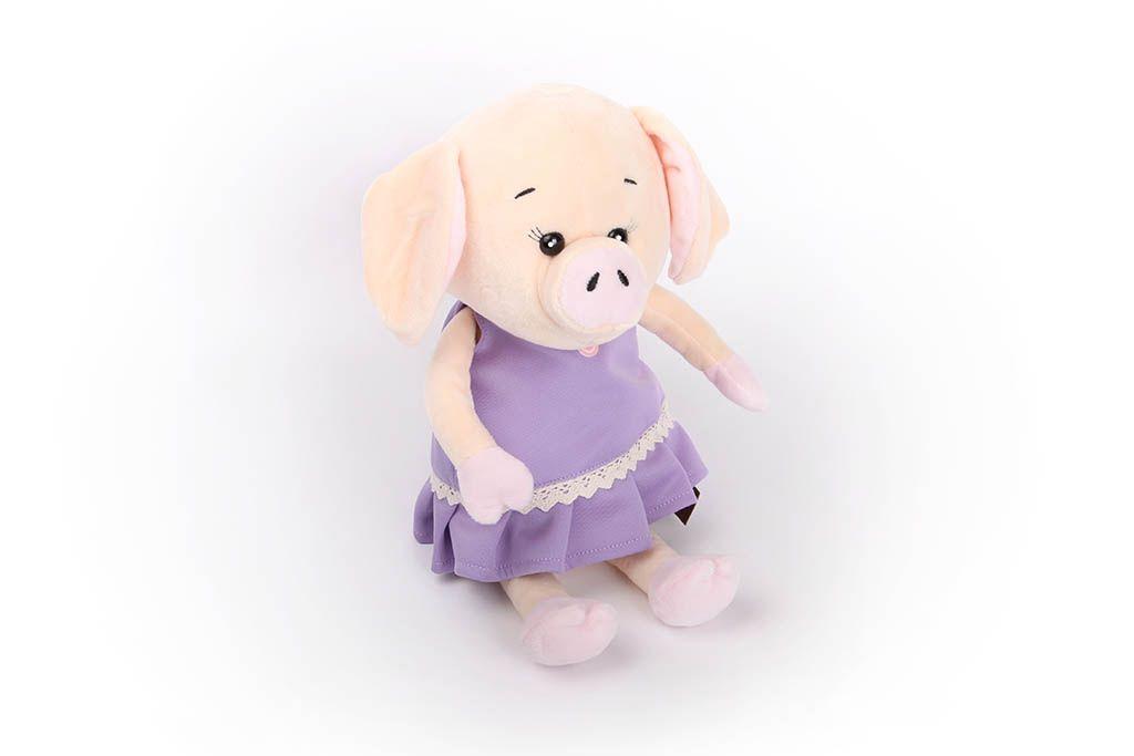 Свинка в фиолетовом платьице, 26 см фото