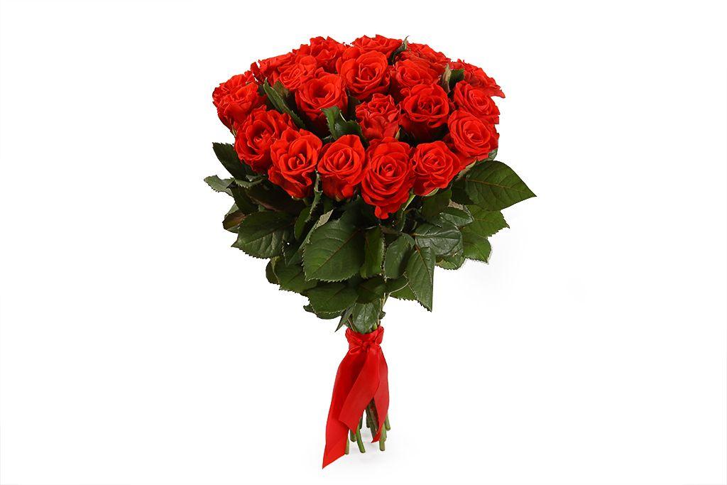 Букет 21 красная роза, 50 см фото