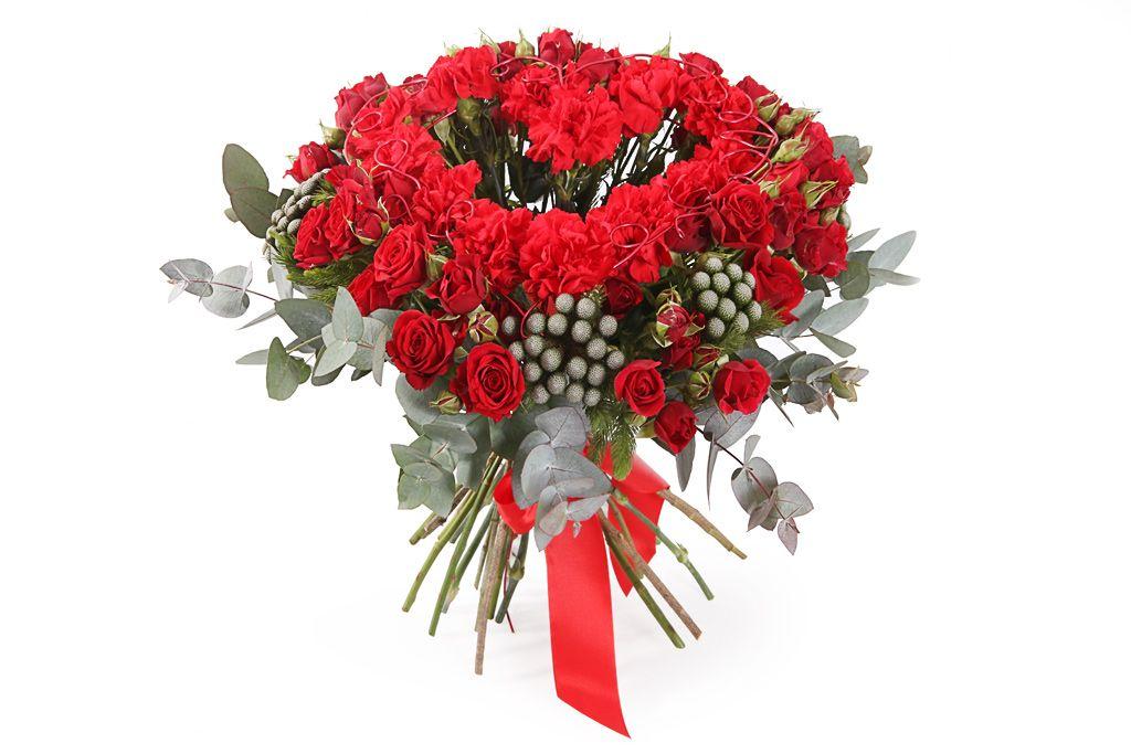 Букет с красными гвоздиками Любовь земная фото