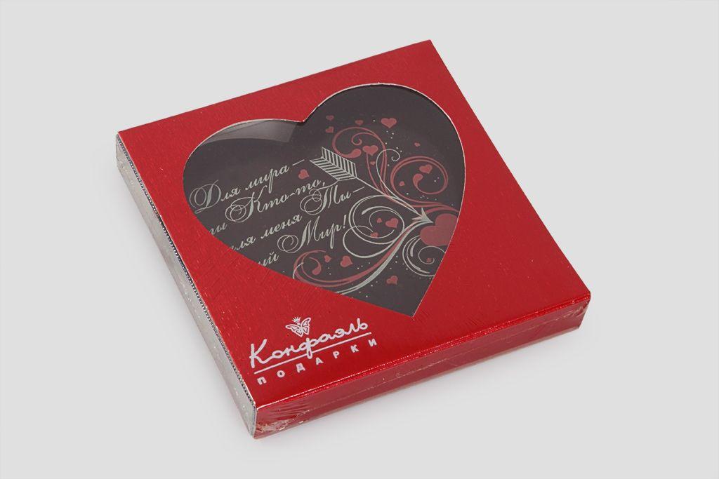 """Шоколадное сердце """"Ты - целый мир"""" фото"""