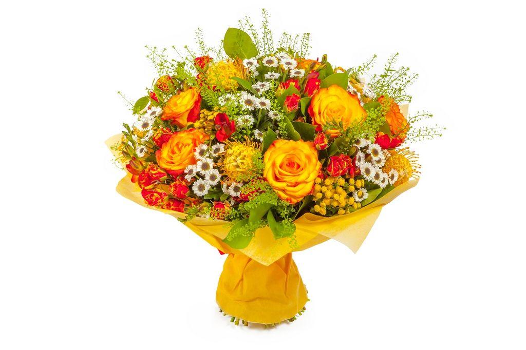 Букет Праздник любви (розы, фрезии, хризантемы) фото
