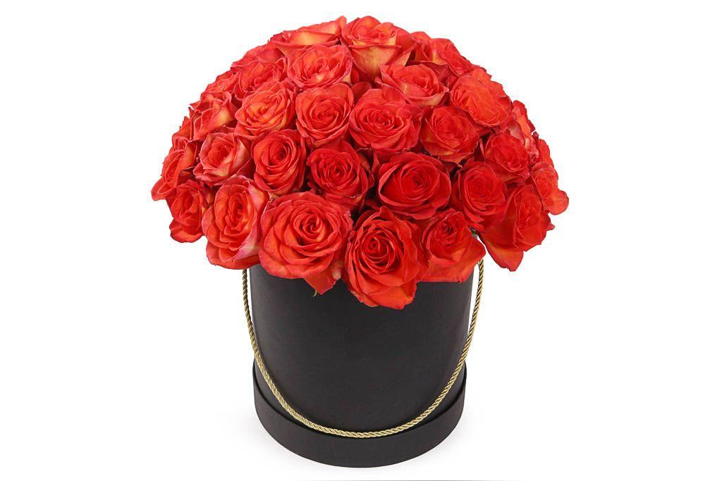 Букет 51 роза Хай Мэджик в шляпной коробке фото