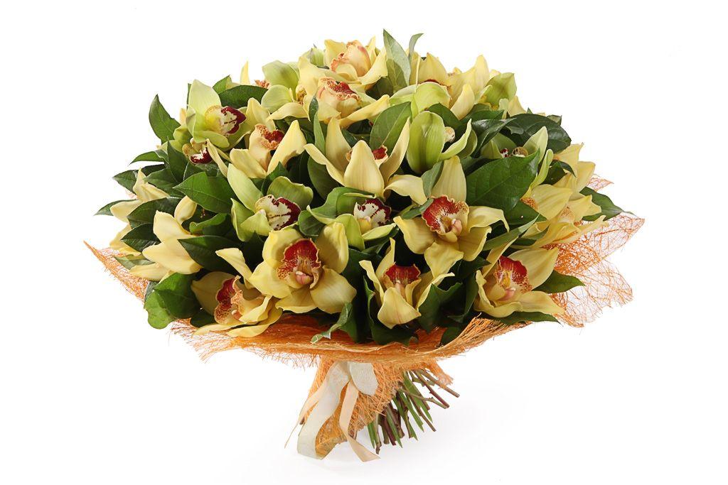 Букет с орхидеями Лимонный щербет фото