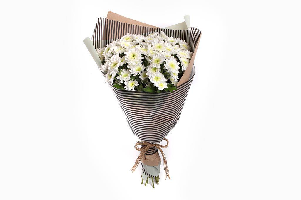 Букет белых хризантем Облачный вояж фото