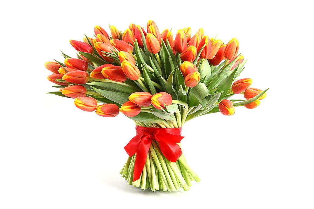 Букет 101 тюльпан, рыжие фото