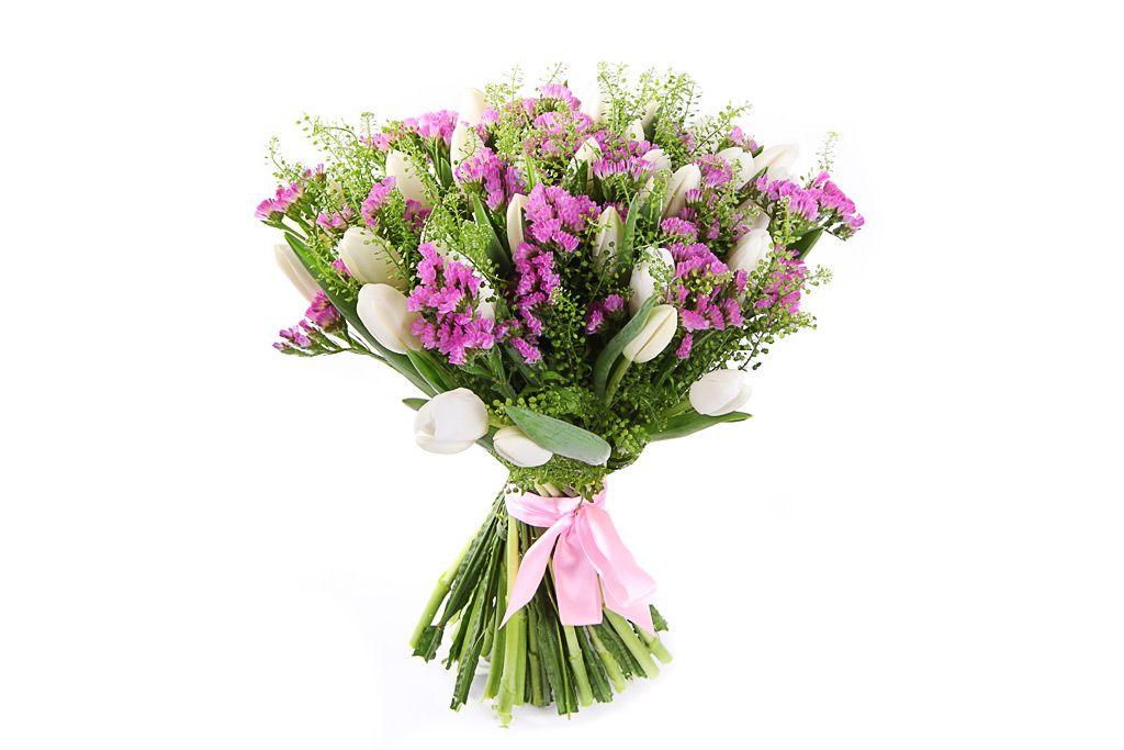 Букет белых тюльпанов Выше радуги фото