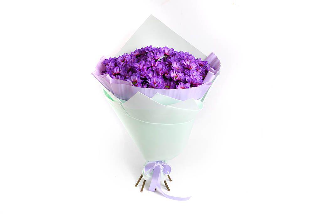 Букет 11 фиолетовых кустовых хризантем фото