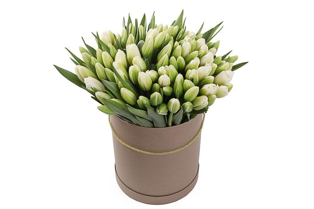 Букет 101 королевский тюльпан в коричневой коробке, белые фото
