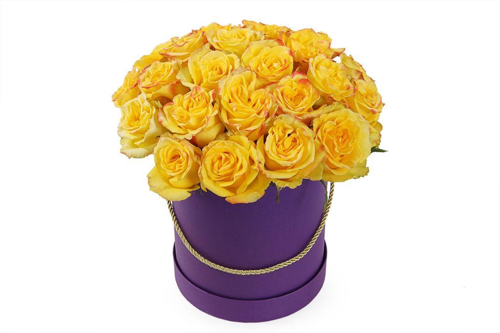Букет 25 роз Хай Еллоу в шляпной коробке фото