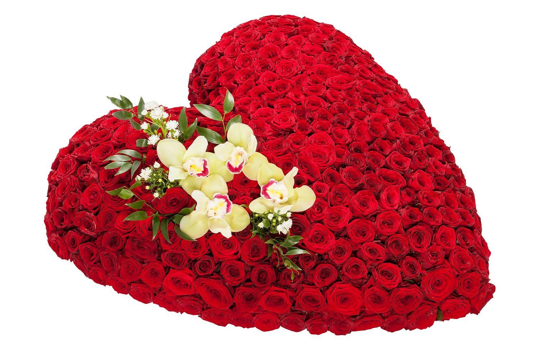 Для, букет роз и огромное сердцем